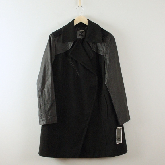 Queen Collection Jackets & Blazers - Queen Collection Leather and Felt Long Coat